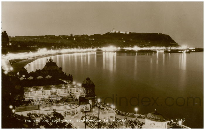 Postcard front: The Spa and South Bay, Scarborough (By Night)
