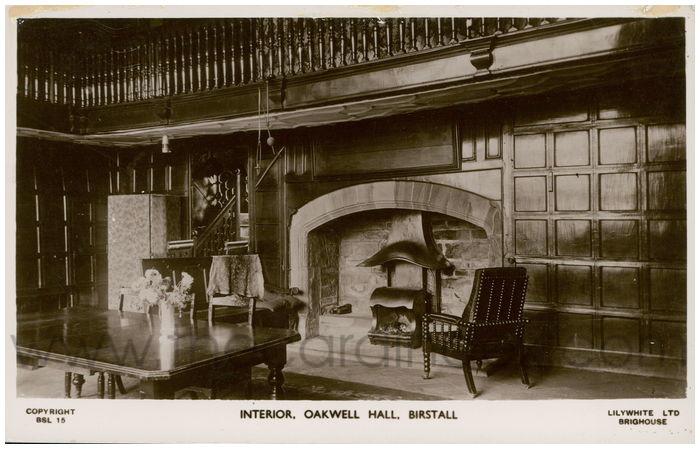Postcard front: Interior, Oakwell Hall, Birstall