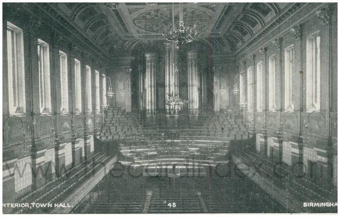 Postcard front: Interior, Town Hall. Brimingham