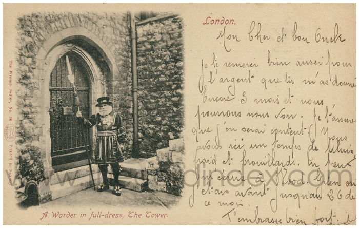 Postcard front: A Warder in full-dress, The Tower. London.