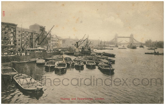 Postcard front: Thames and Towerbridge, London.