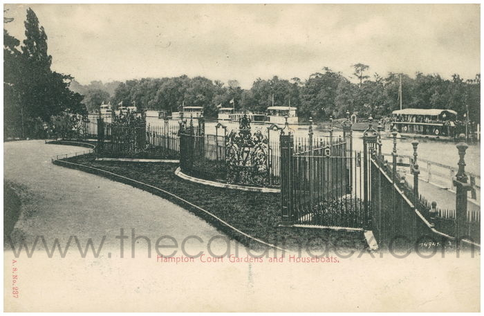 Postcard front: Hampton Court Gardens and Houseboats.