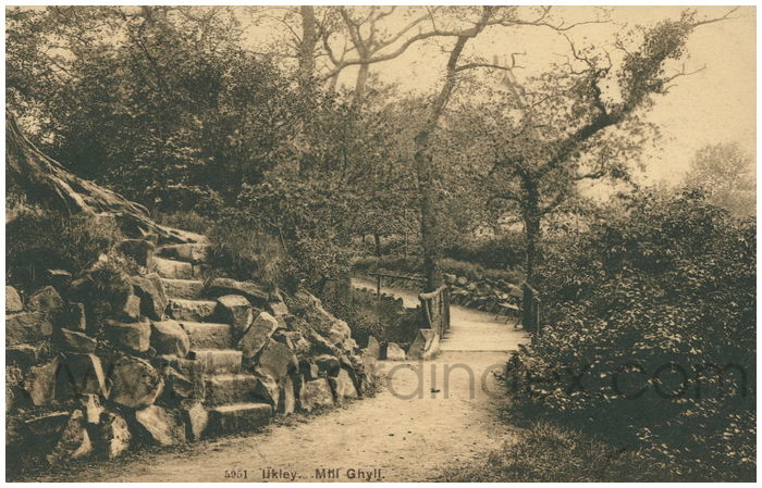 Postcard front: Ilkley. Mill Ghyll.