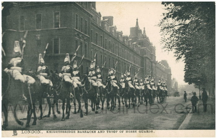 Postcard front: London. Knightsbridge Barracks and Troop of Horse Guards.