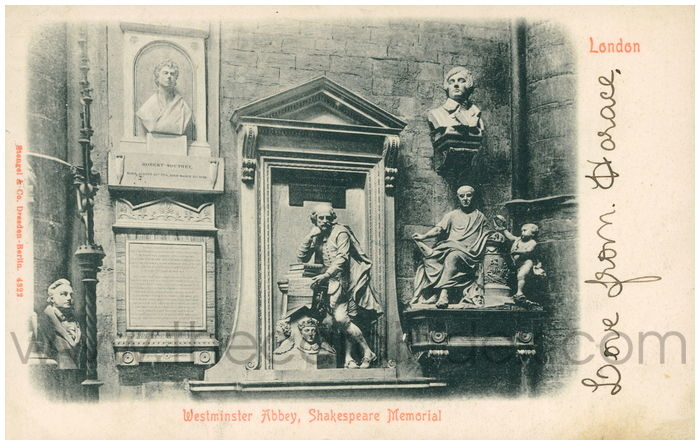 Postcard front: London Westminster Abbey, Shakespeare Memorial