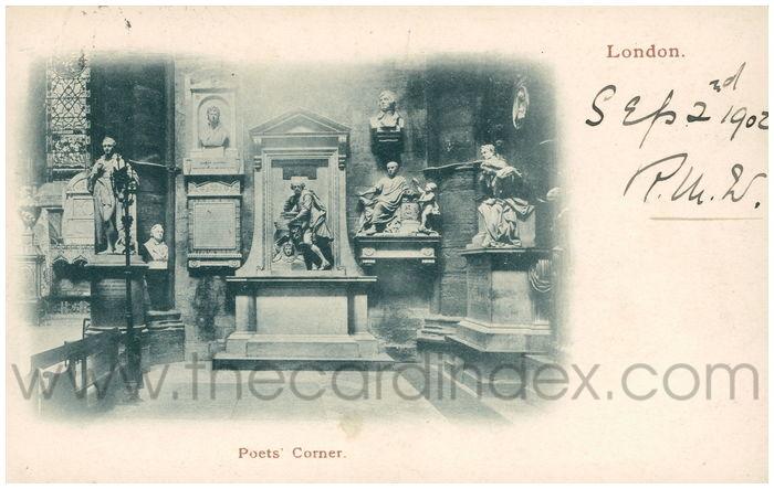 Postcard front: London. Poets' Corner.