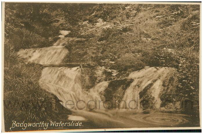 Postcard front: Badgworthy Waterslide.