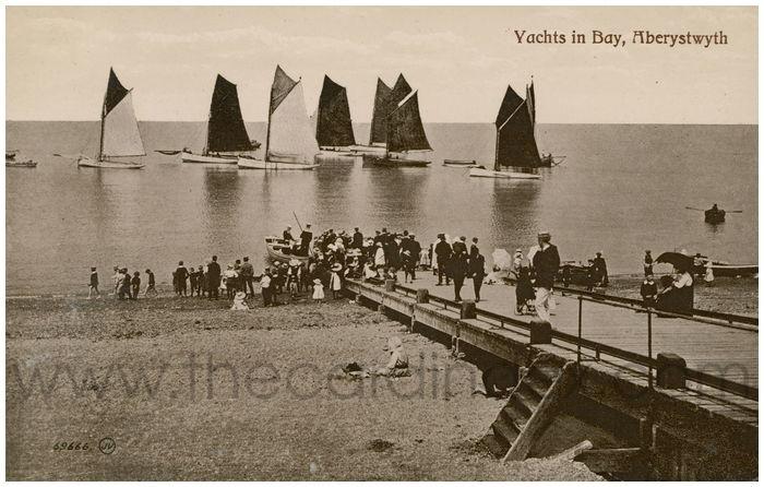 Postcard front: Yachts in Bay, Aberystwyth
