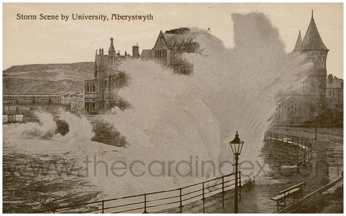 Postcard front: Storm Scene by University, Aberystwyth