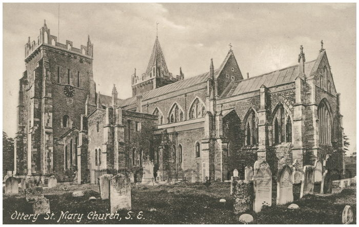 Postcard front: Ottery St. Mary Church, S.E.