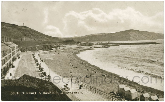 Postcard front: South Terrace & Harbour, Aberystwyth.