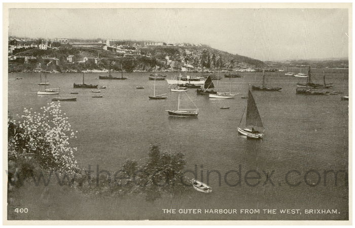 Postcard front: The Outer Harbour from the West, Brixham.