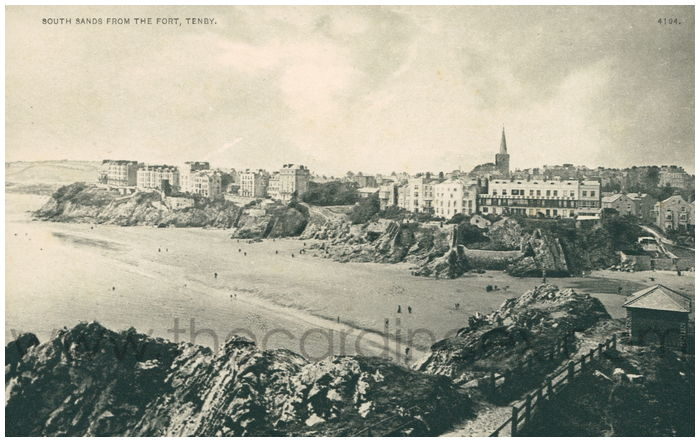 Postcard front: South Sands from the Fort, Tenby.