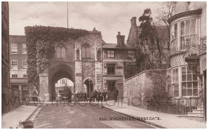 Postcard front: Winchester: West Gate.