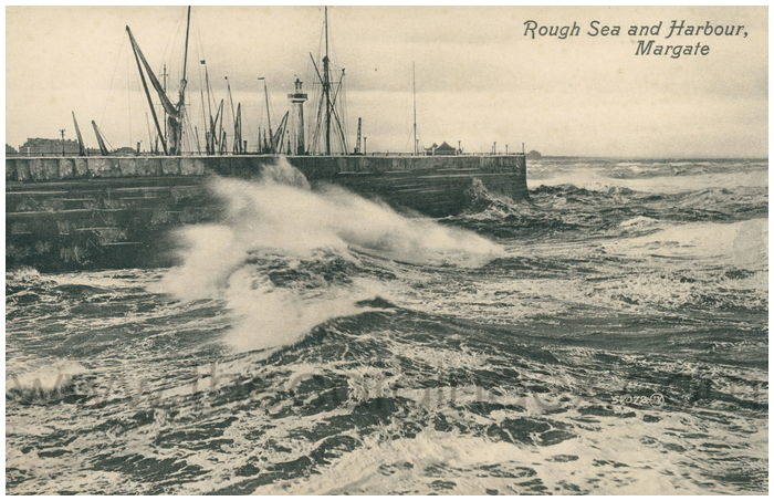 Postcard front: Rough Sea and Harbour, Margate