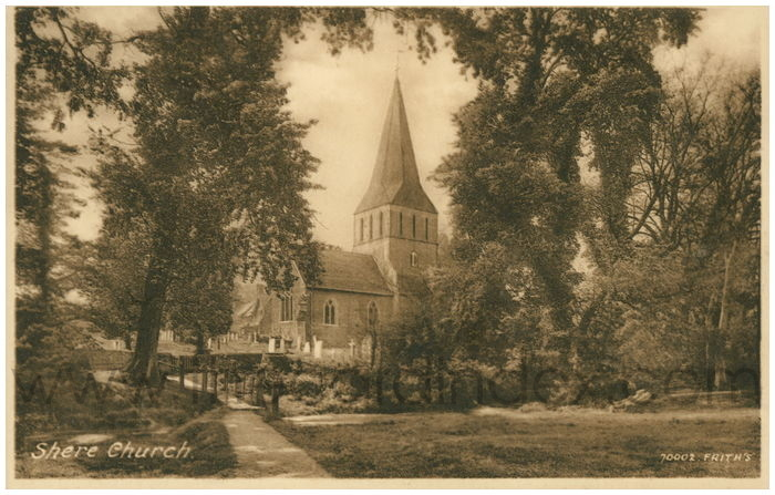 Postcard front: Shere Church.