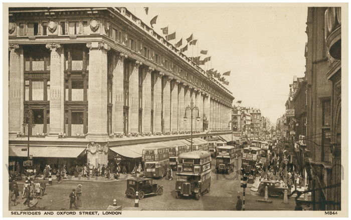Postcard front: Selfridges and Oxford Street, London