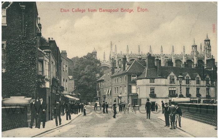 Postcard front: Eton College from Barnspool Bridge, Eton.
