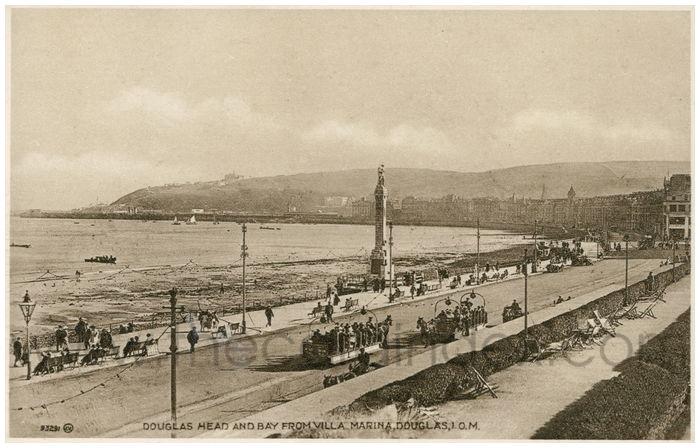 Postcard front: Douglas Head and Bay from Villa Marina, Douglas, I.O.M.