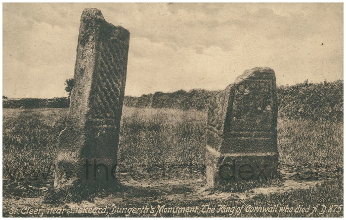 Postcard front: St. Cleer, near Loskeard, Dungerth's Monument. The King of Cornwall who died A.D. 875