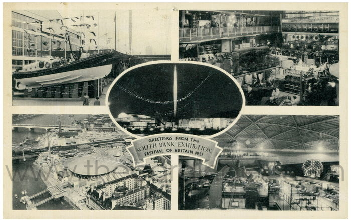 Postcard front: Greetings from the South Bank Exhibition Festival of Britain 1951