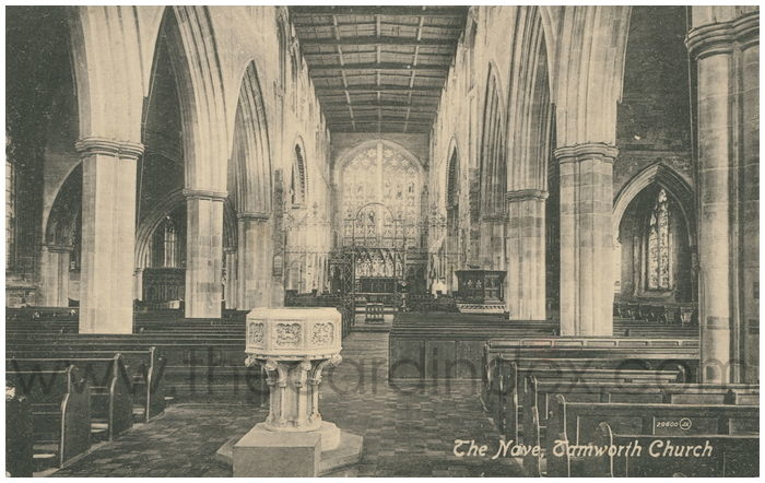 Postcard front: The Nave, Tamworth Church
