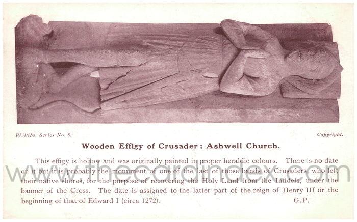 Postcard front: Wooden Effigy of Crusader: Ashwell Church.