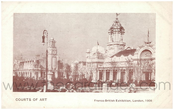 Postcard front: Courts of Art Franco-British Exhibition, London, 1908