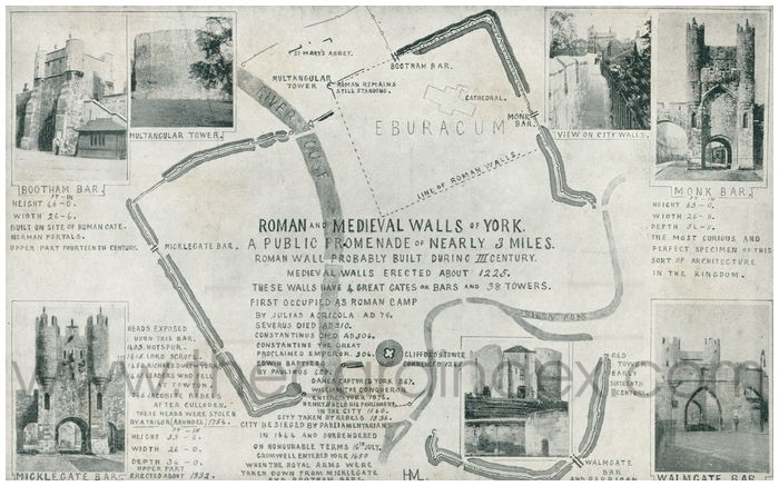 Postcard front: Roman and Medieval Walls of York