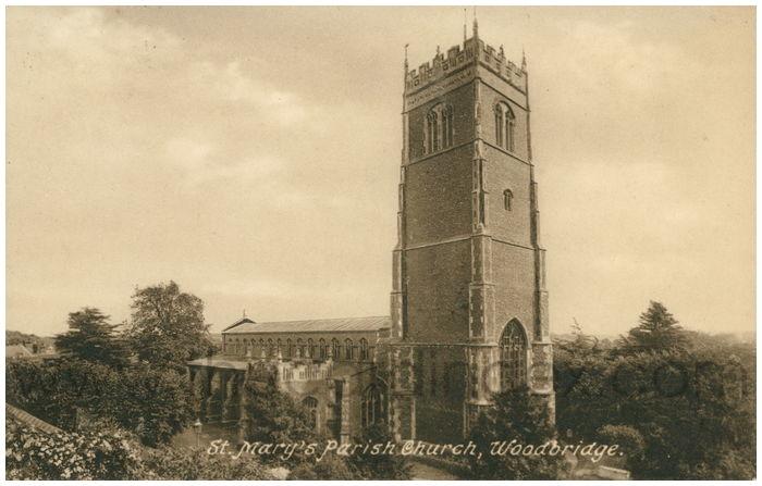 Postcard front: St. Mary's Parish Church, Woodbridge.