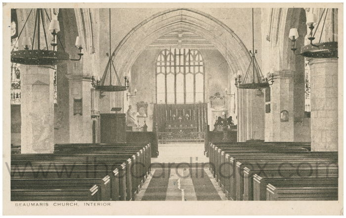 Postcard front: Beaumaris Church, Interior