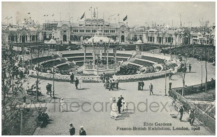 Postcard front: Elite Gardens Franco-British Exhibition, London, 1908