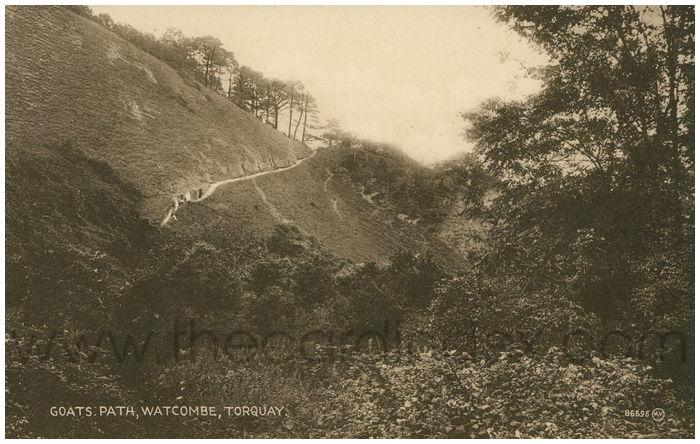 Postcard front: Goats Path, Watcombe, Torquay.