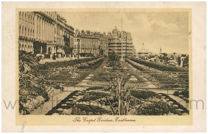 Postcard front: The Carpet Gardens, Eastbourne.