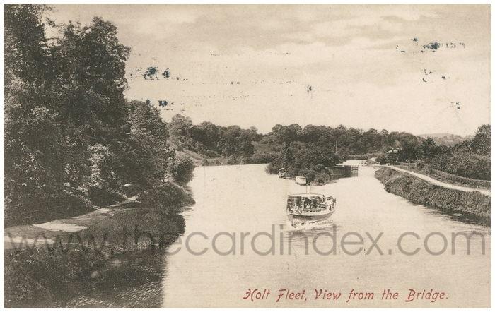 Postcard front: Holt Fleet, View from the Bridge.