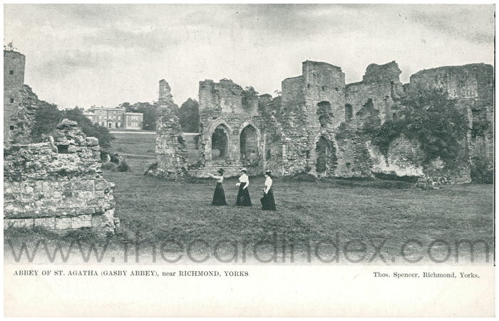 Postcard front: Abbey of St. Agatha (Gasby Abbey), near Richmond, Yorks