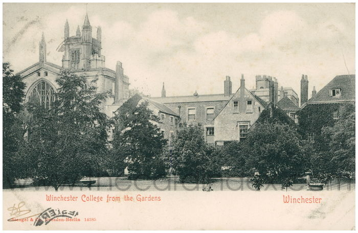 Postcard front: Winchester College from the Gardens Winchester