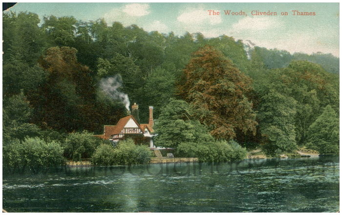 Postcard front: The Woods, Cliveden on Thames