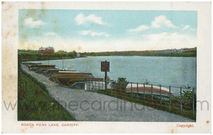 Postcard front: Roath Park Lake, Cardiff.