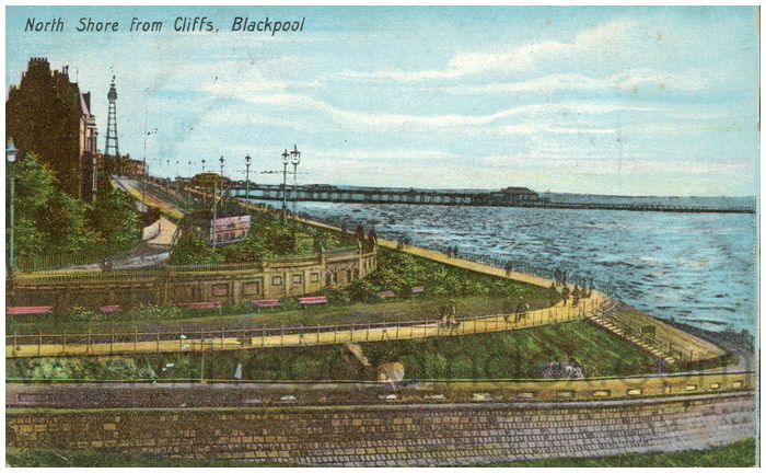 Postcard front: North Shore from Cliffs, Blackpool
