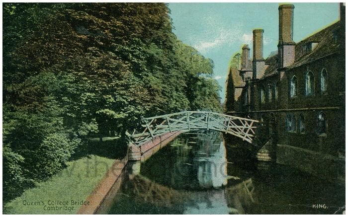Postcard front: Queen's College Bridge. Cambridge.