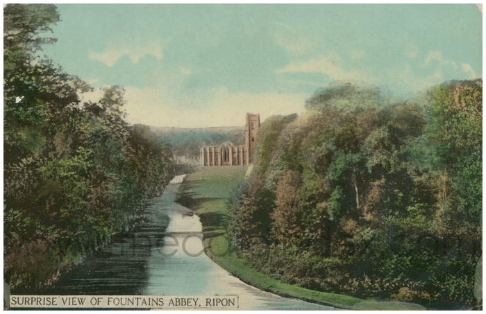 Postcard front: Surprise View of Fountains Abbey, Ripon