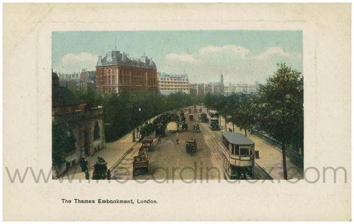 Postcard front: The Thames Embankment, London.