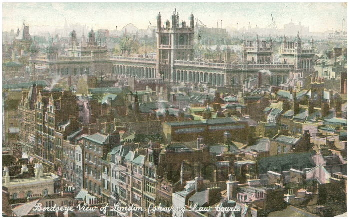 Postcard front: Birdseye View of London. (showing Law Courts)