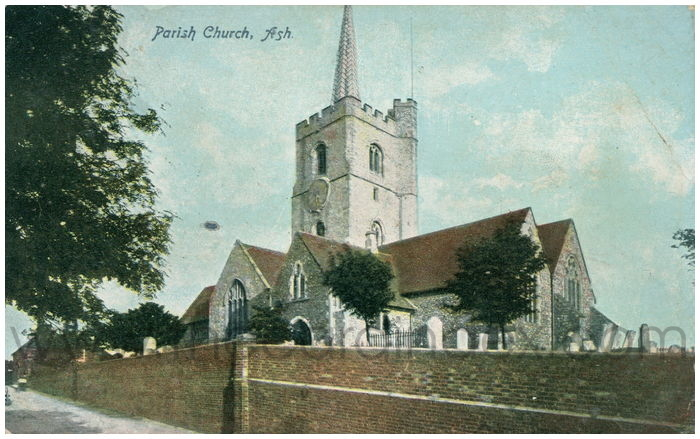 Postcard front: Parish Church, Ash.