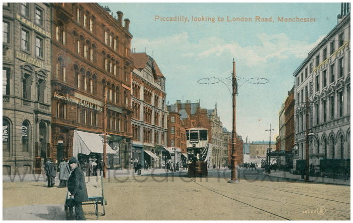 Postcard front: Piccadilly, looking to London Road, Manchester
