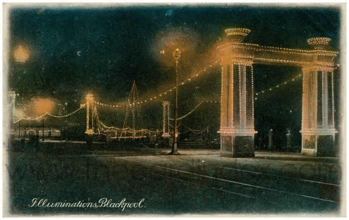 Postcard front: Illuminations, Blackpool.