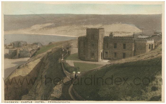 Postcard front: Droskyn Castle Hotel. Perranporth