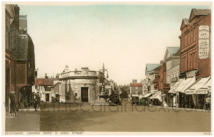 Postcard front: Sevenoaks. London Road and High Street