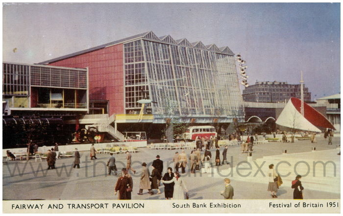 Postcard front: Fairway and Transport Pavilion South Bank Exhibition Festival of Britain 1951